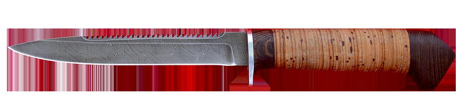 """Нож """"Егерь-3 с насечкой"""", клинок дамасская сталь, рукоять береста"""