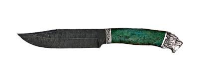 """""""Промысловый большой"""", дамасская сталь, стабилизированная карельская береза (цвет зелёный), мельхиор"""