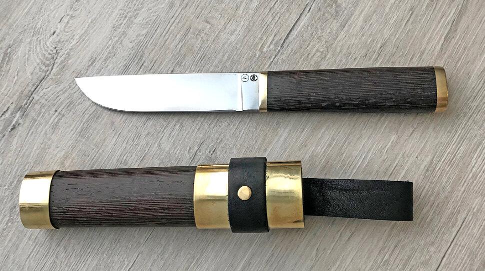 """""""Алтайский охотничий нож малый"""", сталь авторский композит, рукоять венге, деревянный чехол"""