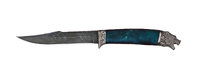"""""""Охотник"""", дамасская сталь, стабилизированный кап (цвет зеленый), мельхиор"""