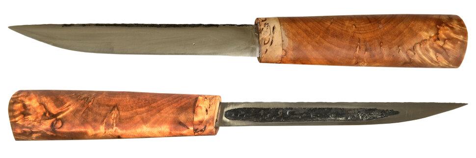 Якутский - Эвенкийский нож 011, ручная ковка, сталь У8, заточка линза, карельская берёза