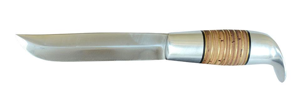 """Авторская финка """"Фронтовая"""", клинок сталь 95Х18, рукоять наборная береста-латунь"""