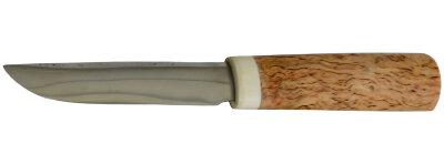 Якутский нож малый 004, ручная ковка, сталь У8, заточка линза, карельская берёза, лосиный рог