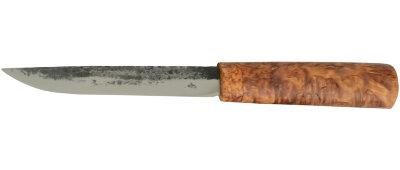 Якутский нож средний 012, ручная ковка, клинок сталь У8, заточка клин, рукоять карельская берёза