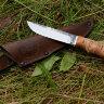 "Нож ""Грибник"", клинок сталь 95Х18 со следами ковки, рукоять береста"