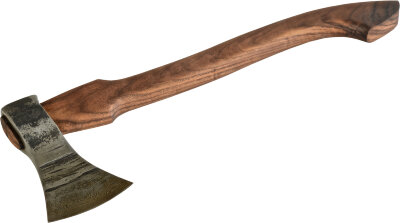 Топор Лесник, рабочая часть из дамасской стали, топорище орех