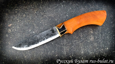 """Нож """"Грибник"""" ручная ковка, клинок сталь 9ХС, рукоять стабилизированная карельская береза (цвет оранжевый), притин из акрила"""