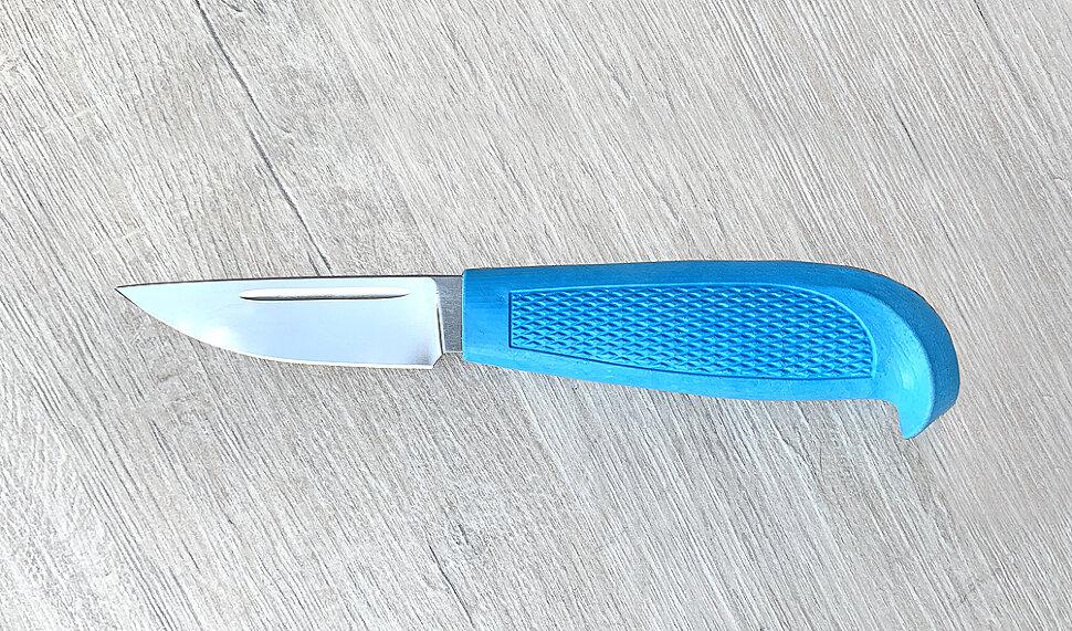 """""""Финка малая"""", сталь 95х18, рукоять резинопластик (цвет синий)"""