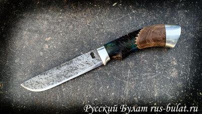 """Нож """"Грибник"""" ручная ковка, клинок сталь 9ХС, рукоять шишка в акриле"""