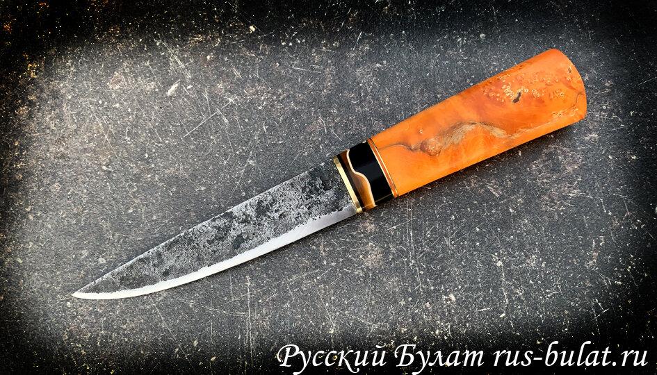 """Нож """"Русский Северный"""", клинок ручная ковка, сталь 9хс, рукоять стабилизированный кап клена, цвет оранжевый"""