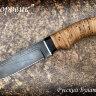 """Нож """"Боровик"""", клинок дамасская сталь, рукоять береста"""