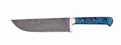 """""""Узбекский большой"""", цельнометаллический, дамасская сталь, стабилизированная карельская береза (цвет зелёный)"""