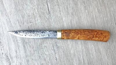 """Нож """"Северянин"""", клинок сталь У8 ручная ковка, рукоять карельская береза"""