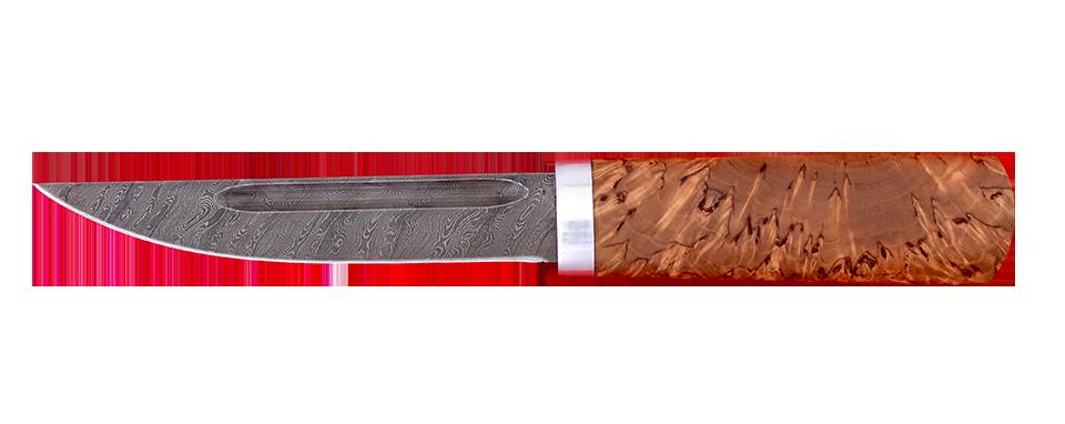 """""""Якутский средний"""", дамасская сталь, стабилизированная карельская берёза (цвет натуральный)"""