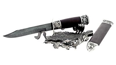 """Композиция """"Крым"""", подставка из мельхиора + нож """"НР-40"""", сталь Дамаск, рукоять и деревянный чехол из венге"""
