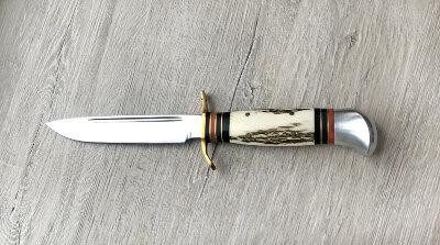 """Разборный нож """"P.Holmberg Eskilstuna"""" (прообраз финки НКВД), кованый сталь У8, лосиный рог"""