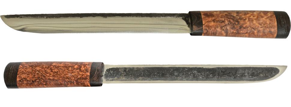 Якутский нож большой 017, ручная ковка, сталь У8, заточка линза, карельская берёза, венге