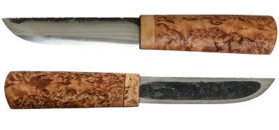 Якутский нож малый 015, ручная ковка, сталь У8, заточка линза,  карельская берёза