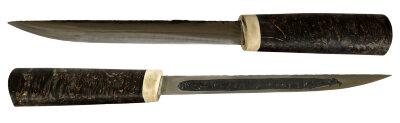 Якутский - Эвенкийский нож 010, ручная ковка, сталь У8, заточка линза, стабилизированная карельская береза (цвет черный)