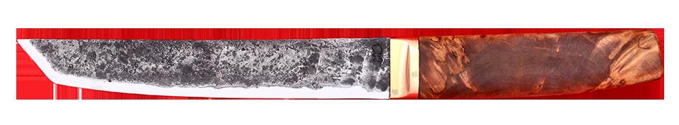 """""""Самурай большой"""", ручная ковка, сталь 9ХС, стабилизированный кап (цвет натуральный), латунь"""