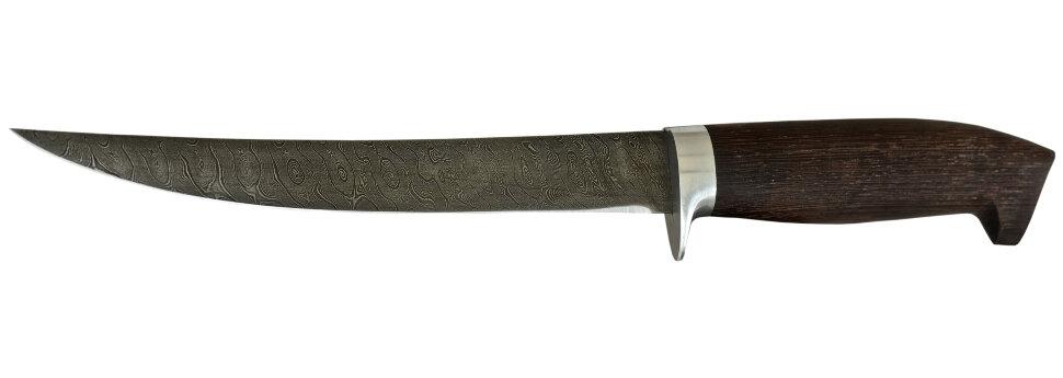 """Филейный нож """"Судак большой"""", дамасская сталь, венге"""