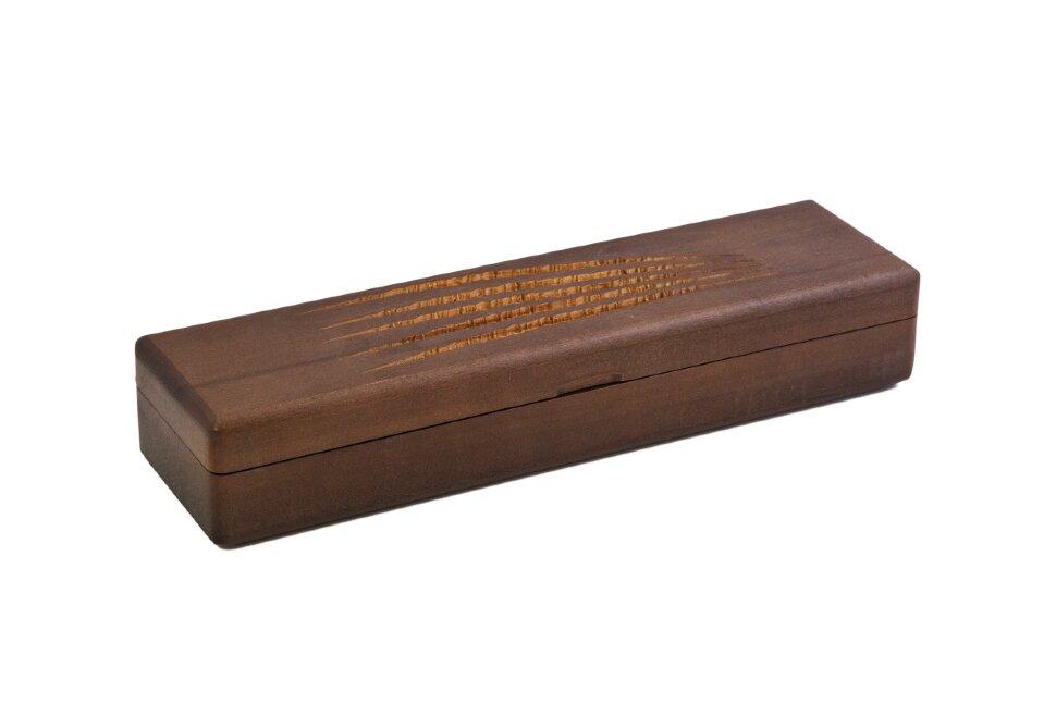 Коробка из бука под нож коричневая