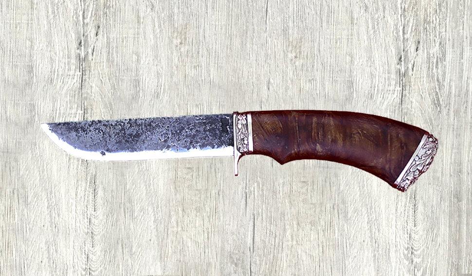 """""""Грибник-2"""" (вар. 2), ручная ковка, сталь 9ХС, кап (цвет коричневый), мельхиор"""