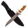"""Нож """"Атака"""", цельнометаллический, клинок дамасская сталь, рукоять карельская береза, мельхиор"""