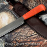 """""""Полярник-2"""", клинок сталь х12мф, рукоять резинопластик (цвет оранжевый)"""