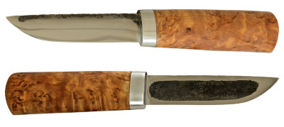 Якутский нож малый 014, ручная ковка, сталь У8, заточка линза, карельская берёза