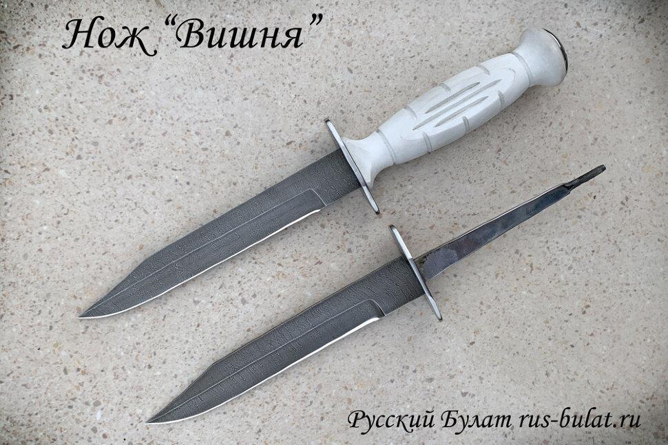 """Нож разведчика НР-43 """"Вишня"""", разборный, два клинка из стали дамаск, пластмасса (цвет белый)"""