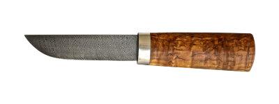 """Авторский нож """"Пареньский малый"""", дамасская сталь, стабилизированная карельская береза (цвет натуральный)"""