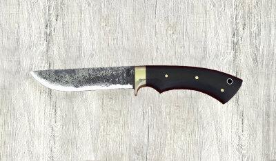 """""""Грибник-2"""", цельнометаллический, ручная ковка, клинок сталь 9ХС, микарта (цвет черный), отверстие под темляк"""