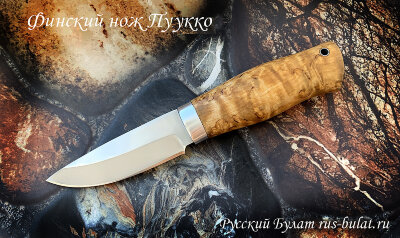 """""""Финский нож Пуукко"""", сталь кованая 95Х18, рукоять карельская берёза"""