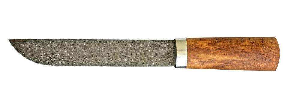 """Авторский нож """"Пареньский большой"""", дамасская сталь, стабилизированная карельская береза (цвет натуральный)"""