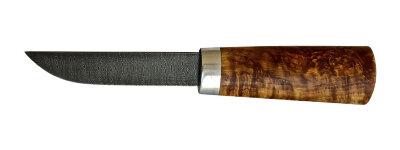 """Авторский нож """"Пареньский-2 малый"""", дамасская сталь, стабилизированная карельская береза (цвет натуральный)"""
