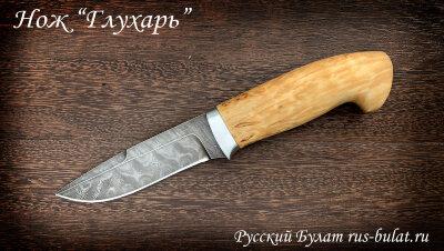 """Нож """"Глухарь"""", клинок дамасская сталь, рукоять карельская берёза"""