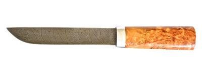 """Авторский нож """"Пареньский-2 средний"""", дамасская сталь, стабилизированная карельская береза (цвет натуральный)"""