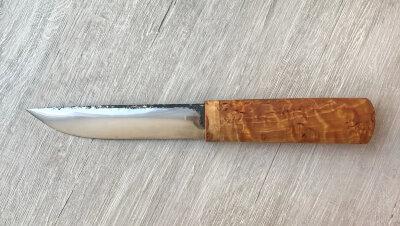 Якутский нож средний 006, ручная ковка, сталь У8, заточка линза, карельская берёза