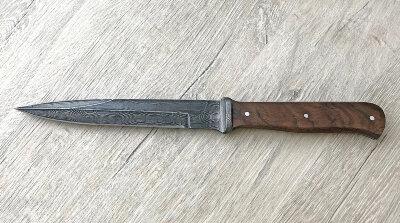 """""""Немецкий пехотный нож"""" (окопник), цельнометаллический, сталь дамаск, орех"""